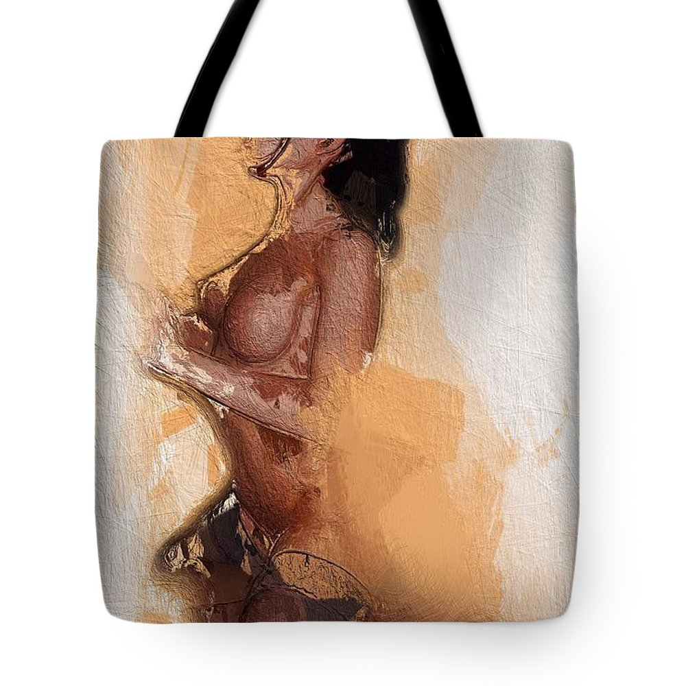 Erotic Nude Sex Sexy Ride Riding Joy Boobs Tits Female Woman Girl Lingerie Tote Bag featuring the painting Taking A Ride by Steve K