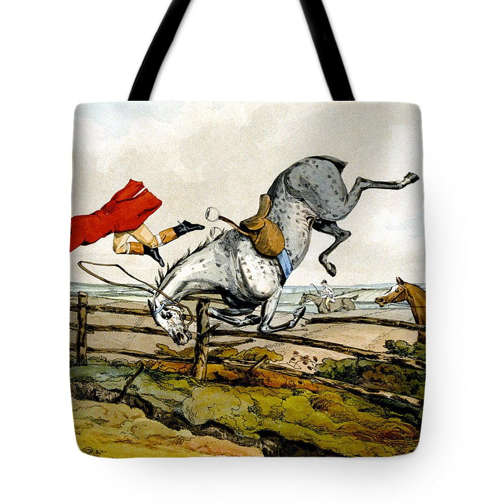 Hunters; Hunting; Falling; Ditch; Fence; Grey; Horse; Flying Through Air; Unseated; Unhorsed; Jumping; Thrown; Accident; Danger; Sport; Comical; Humorous; Riding Outfit Tote Bag featuring the painting Taking A Tumble From Qualified Horses And Unqualified Riders by Henry Thomas Alken