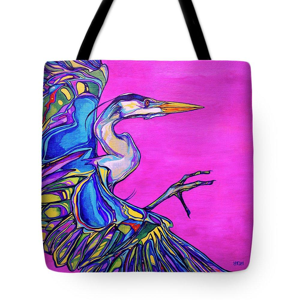 Heron Paintings Tote Bag featuring the painting Taking Flight by Derrick Higgins
