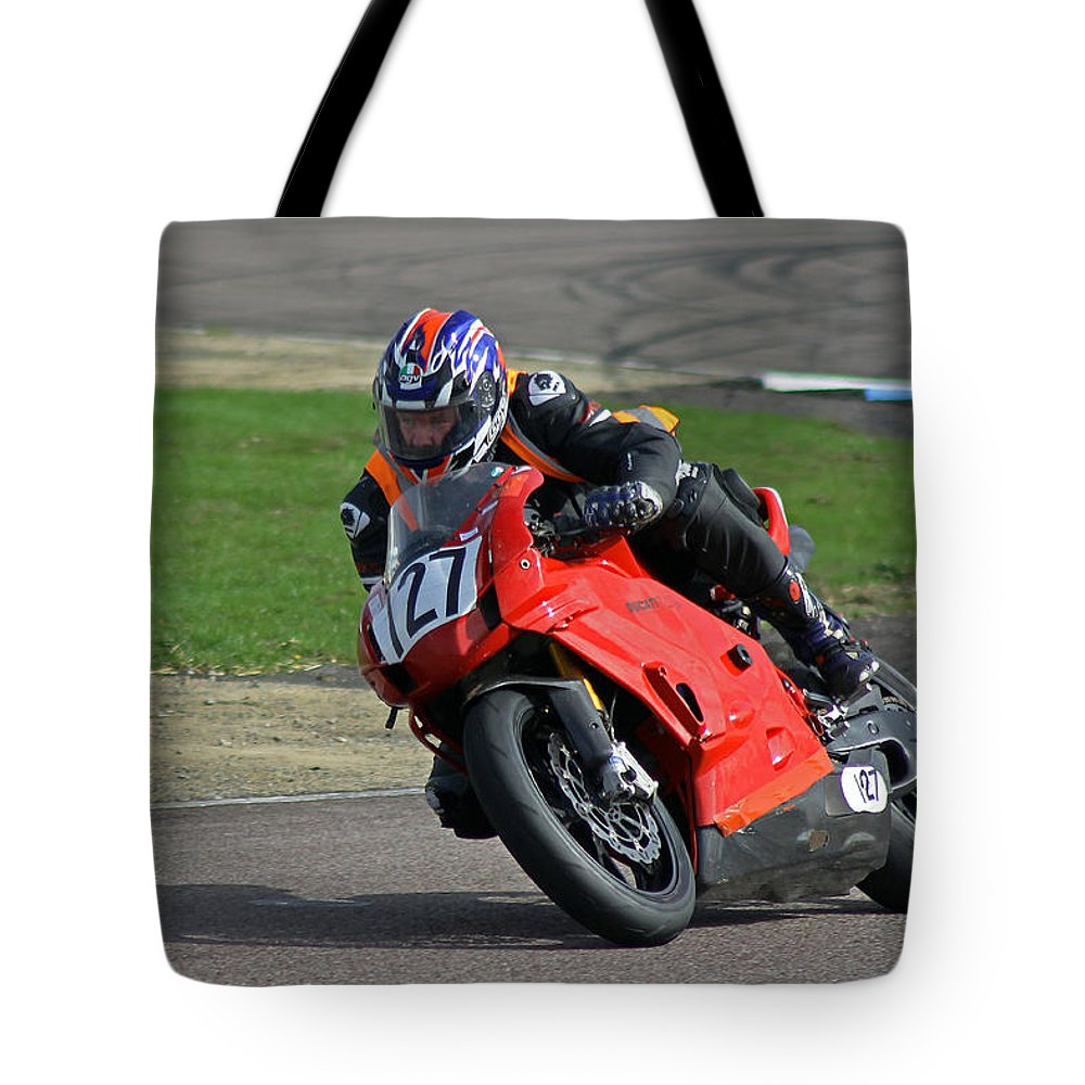 Motor Bike Tote Bag featuring the photograph Taking The Bend by Tony Murtagh
