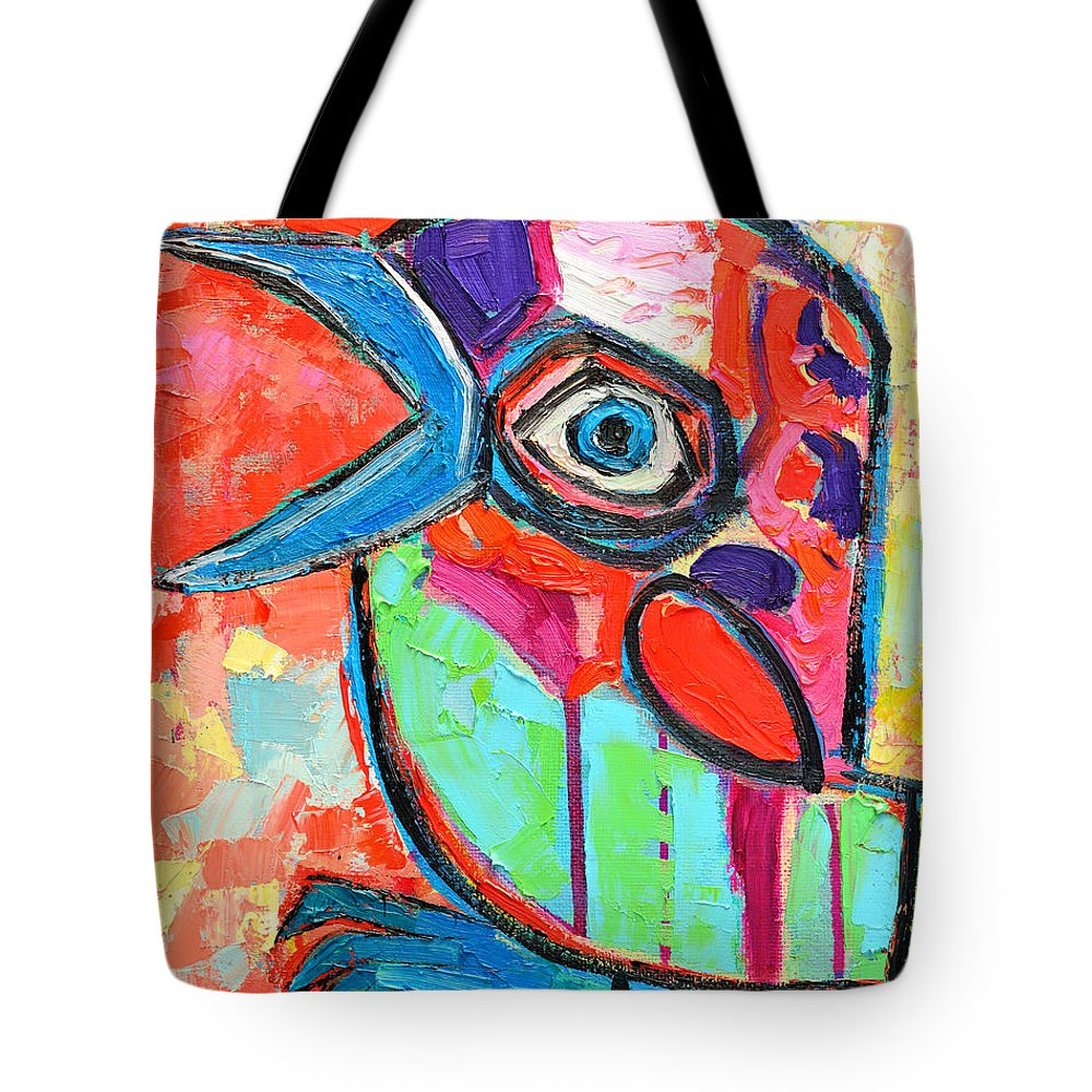 Baby Tote Bag featuring the painting Talkative Baby Bird First This Spring by Ana Maria Edulescu