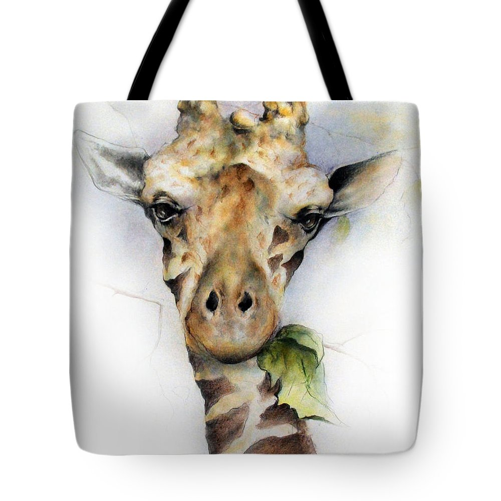 Giraffe Animals Wildlife Nature Africa Tote Bag featuring the drawing Tall Blonde by Mary Zins