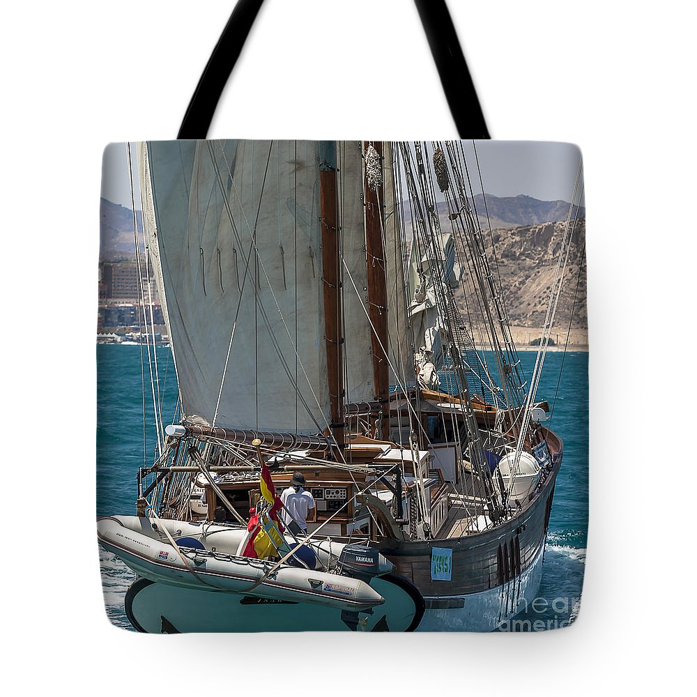 Tall Ships Tote Bag featuring the photograph Tall Ship Isla Ebusitania by Pablo Avanzini