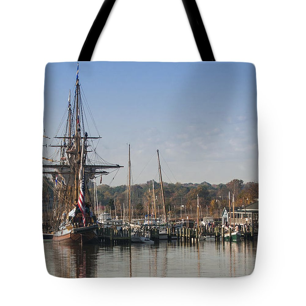 2013 Tote Bag featuring the photograph Tall Ship Reflection by Lauren Brice