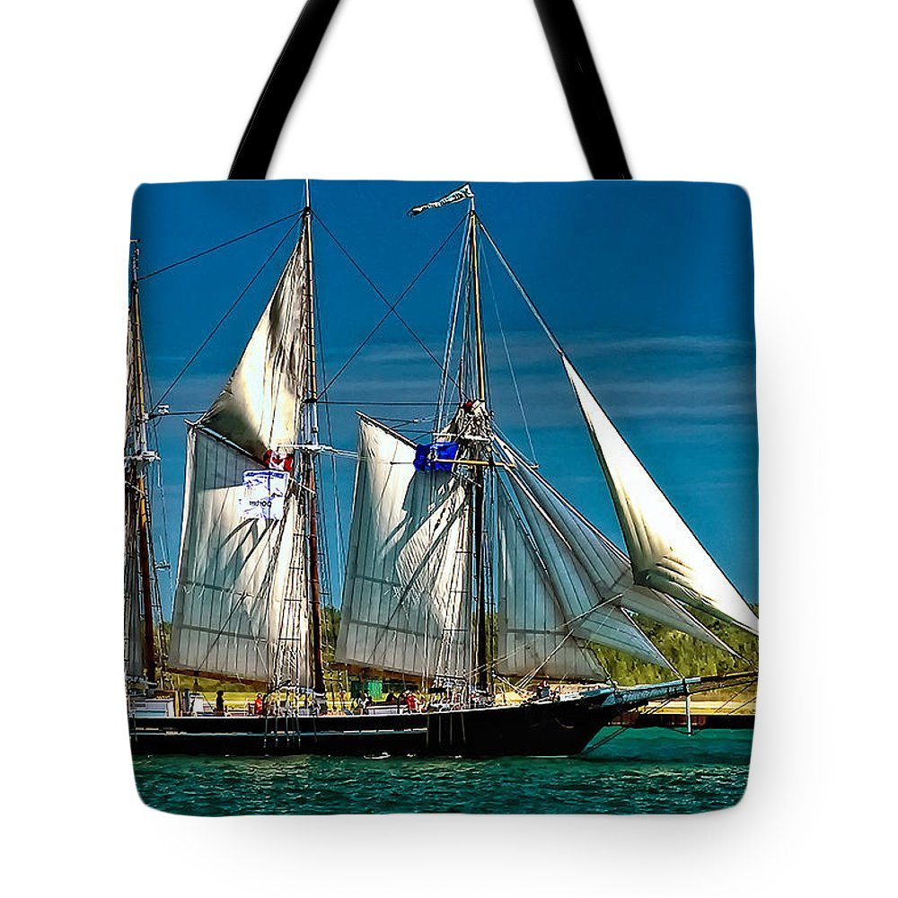 Tall Ship Tote Bag featuring the photograph Tall Ship by Steve Harrington