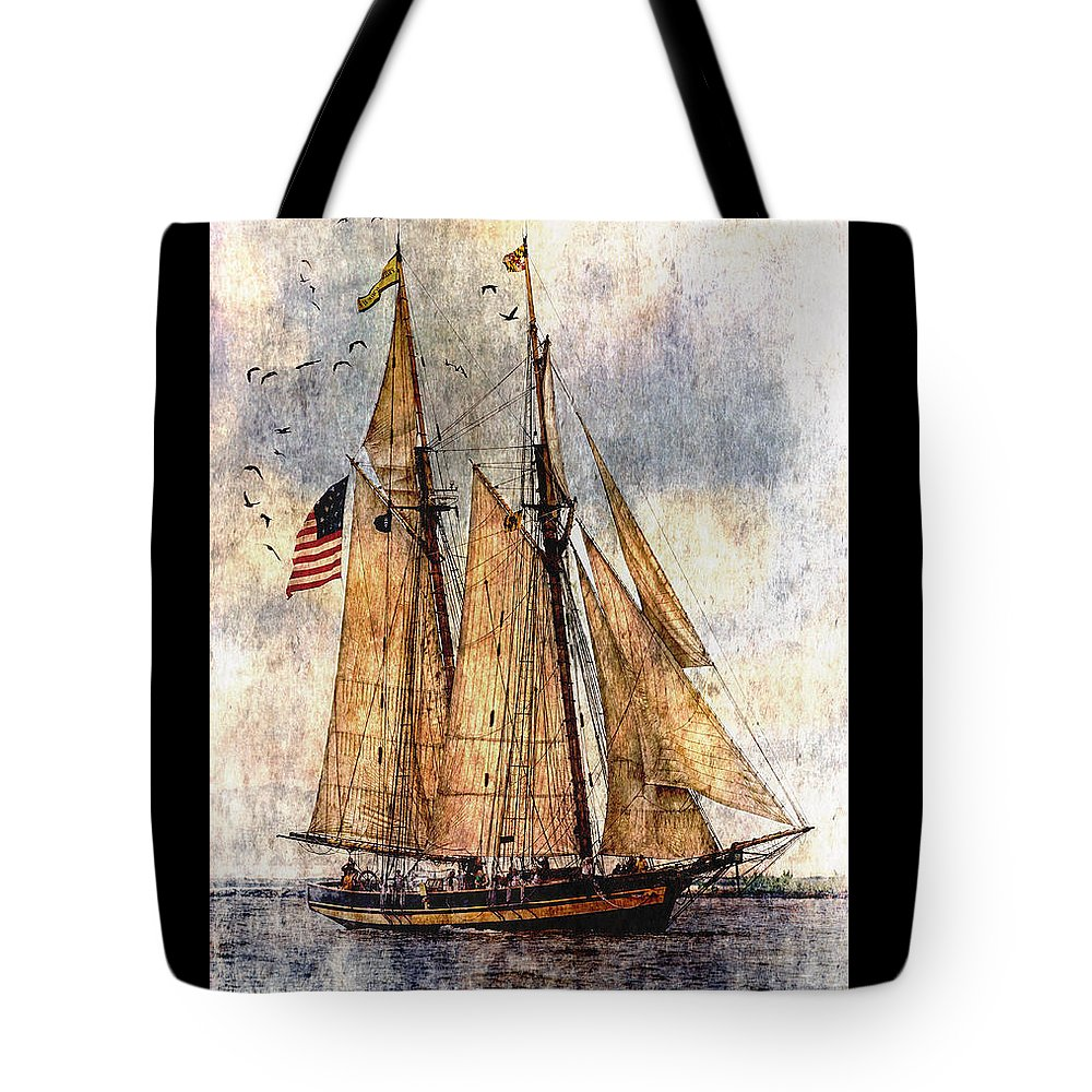 Pride Of Baltimore Ii Tote Bag featuring the digital art Tall Ships Art by Dale Kincaid