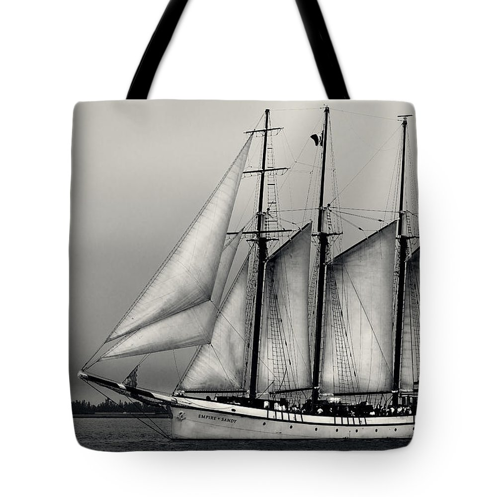Boating Tote Bag featuring the pyrography Tall Ships Sailing Boat by Peter v Quenter