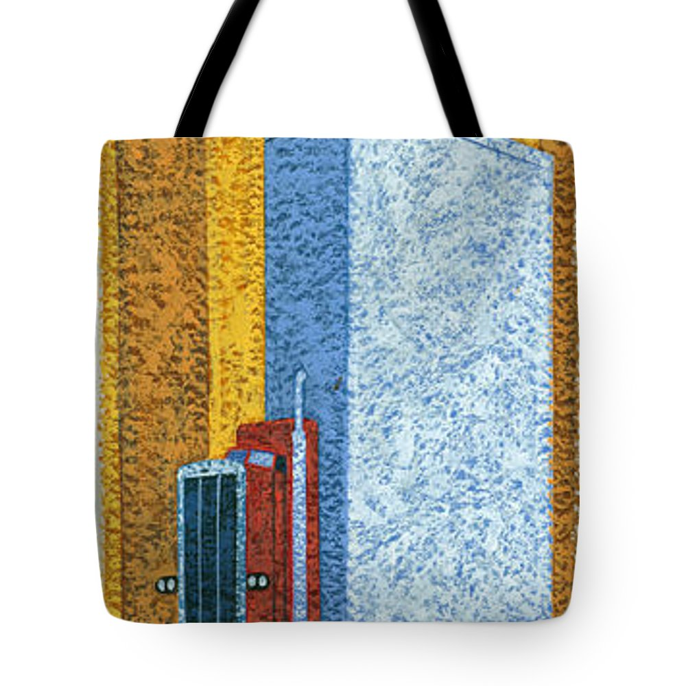 Brian James Tote Bag featuring the photograph Tall Truck by MGL Meiklejohn Graphics Licensing