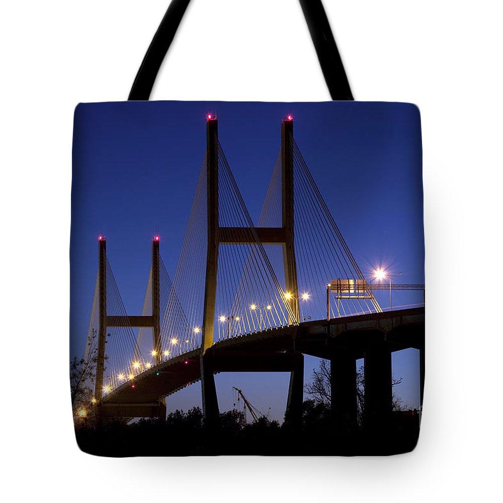 Talmadge Tote Bag featuring the photograph Talmadge Memorial Bridge Savannah by Bill Cobb
