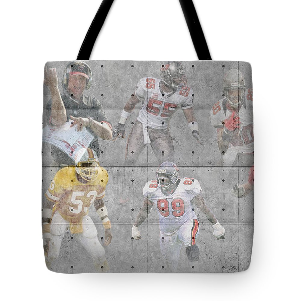 Buccaneers Tote Bag featuring the photograph Tampa Bay Buccaneers Legends by Joe Hamilton
