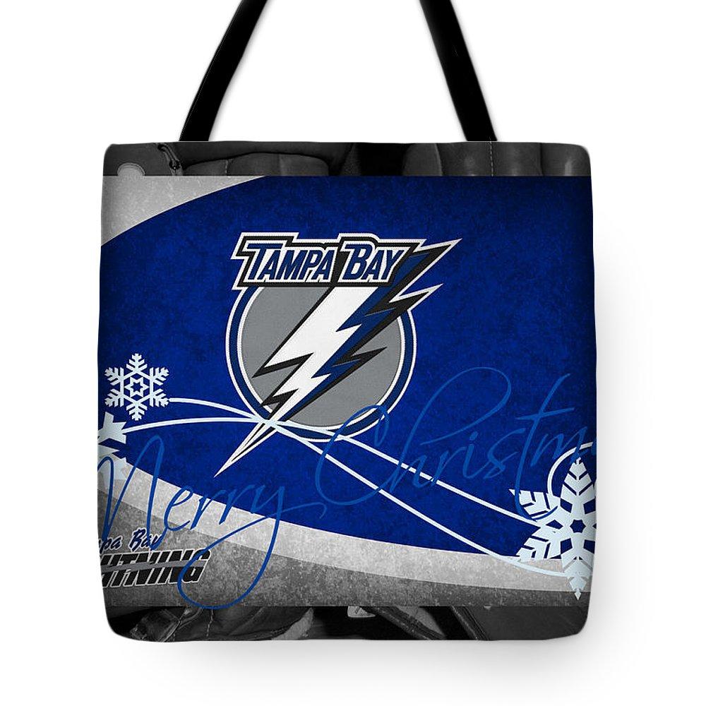 Lightning Tote Bag featuring the photograph Tampa Bay Lightning Christmas by Joe Hamilton