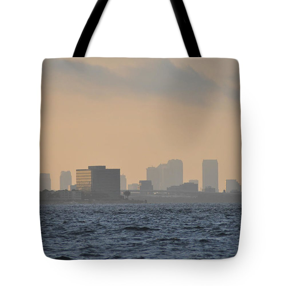 Tampa Tote Bag featuring the photograph Tampa From The West Shore by Bill Cannon