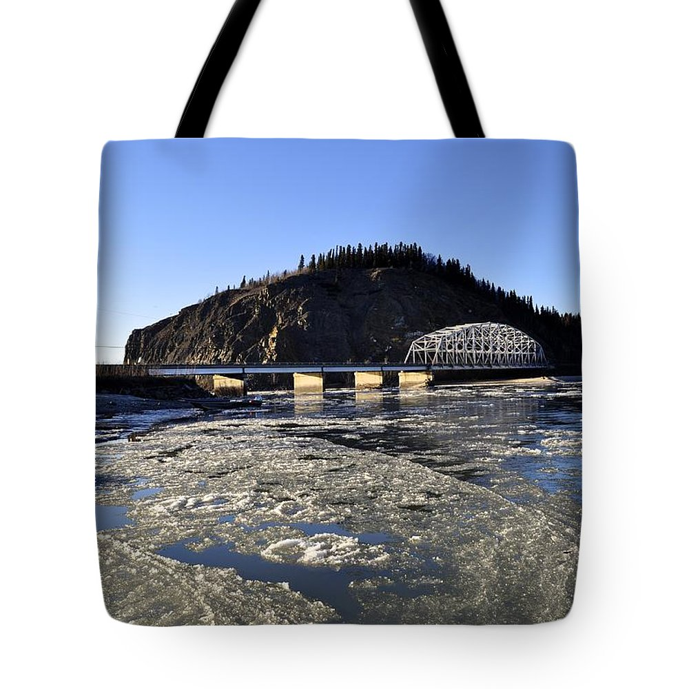 Winter Tote Bag featuring the photograph Tanana River In Winter by Cathy Mahnke