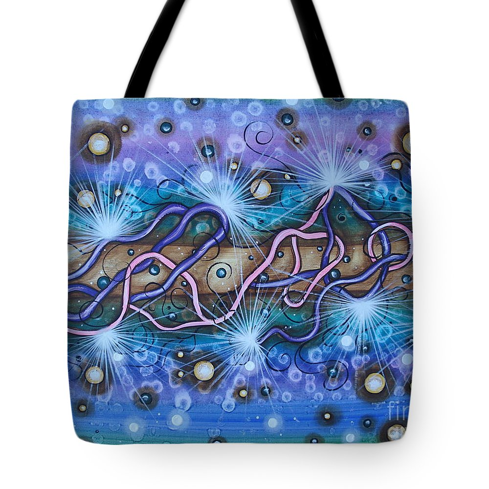 Abstract Tote Bag featuring the painting Tangled by Krystyna Spink