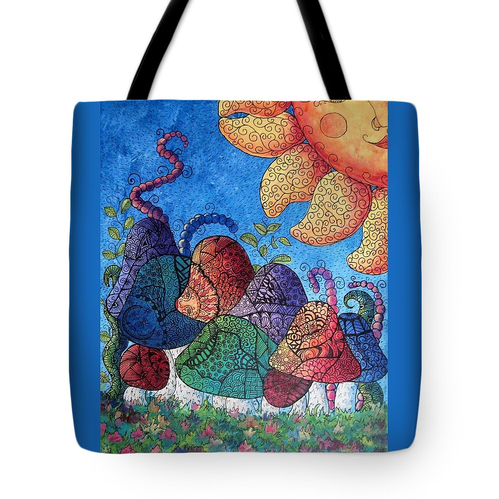 Abstract Tote Bag featuring the painting Tangled Mushrooms by Megan Walsh