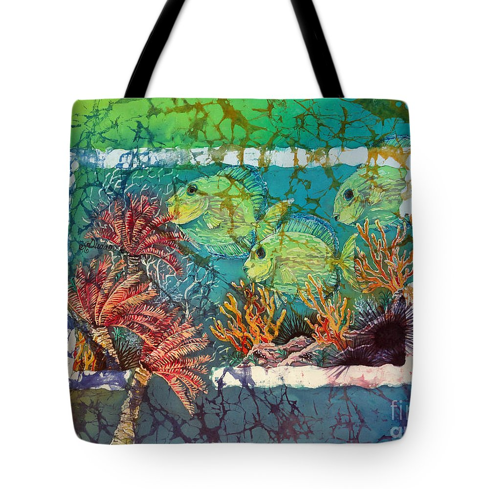 Fish Tote Bag featuring the painting Tangs Trio by Sue Duda