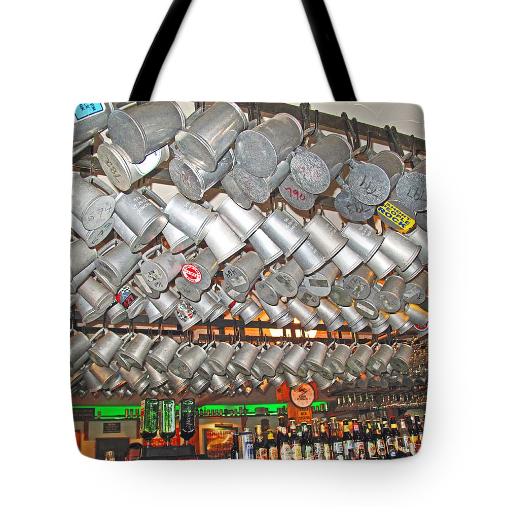 Beer Tote Bag featuring the photograph Tankards Alot by Barbara McDevitt
