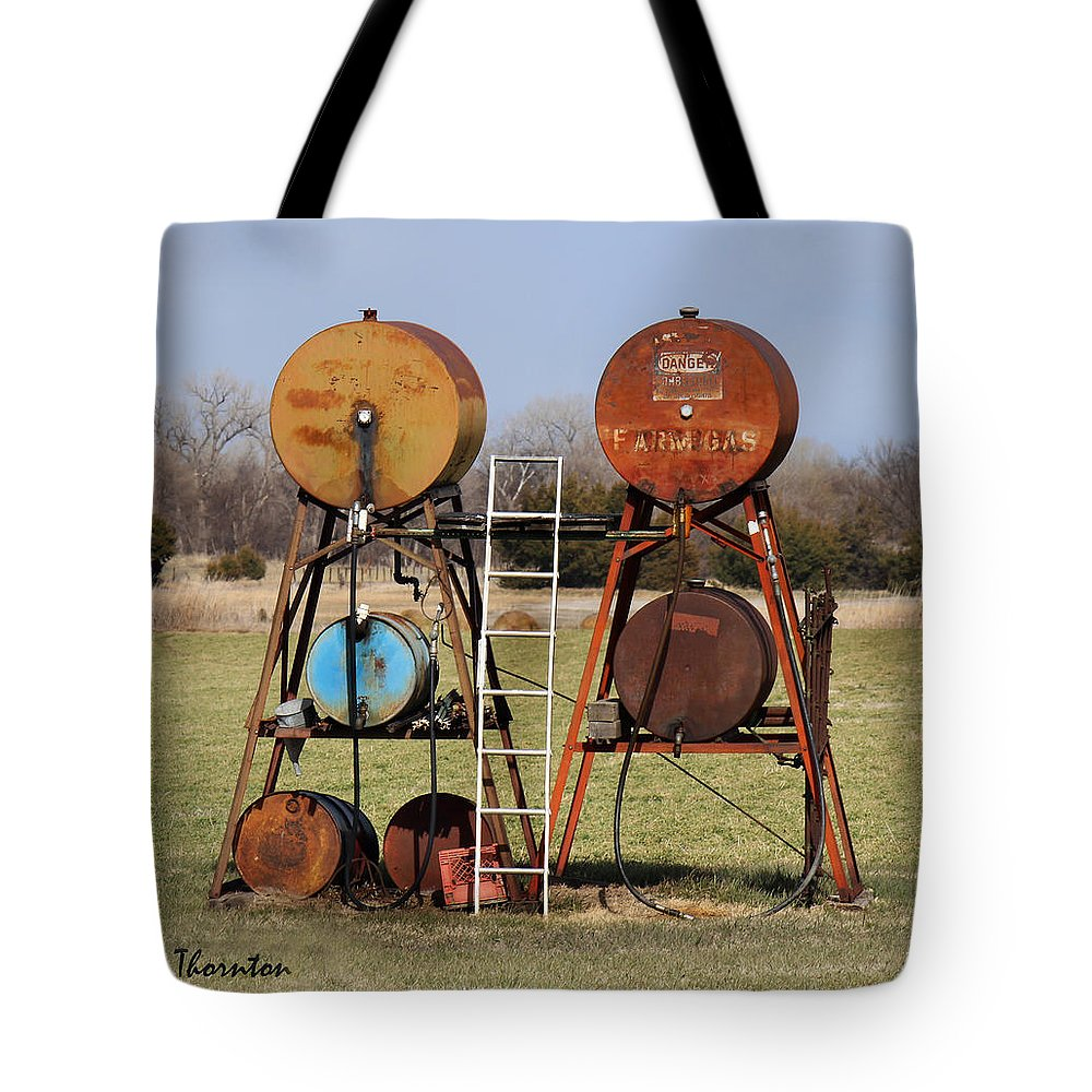 Gas Tank Tote Bag featuring the photograph Tanks For The Memories by Sylvia Thornton