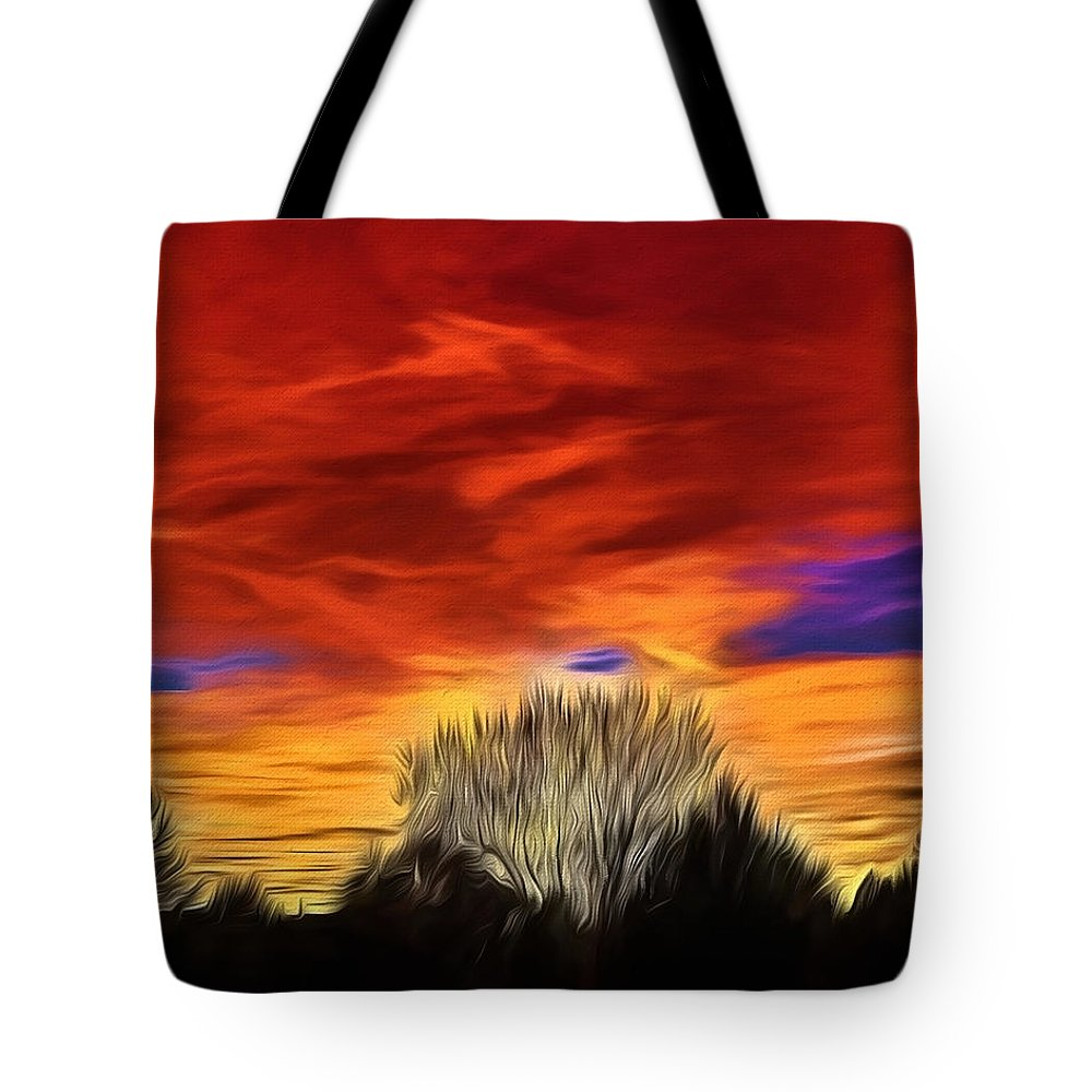 Taos Tote Bag featuring the painting Taos Sunset Lx - Okeeffe by Charles Muhle
