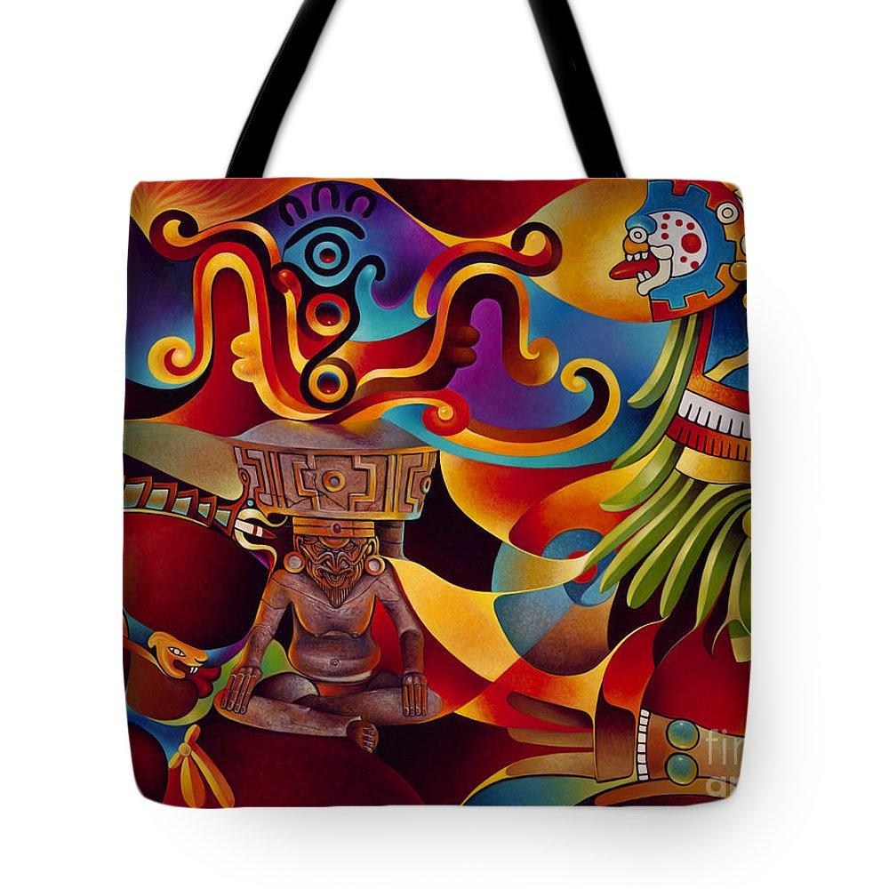 Aztec Sun Paintings Tote Bags