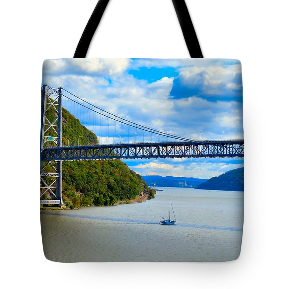 Sky Tote Bag featuring the photograph Tappan Zee Span by Art Dingo