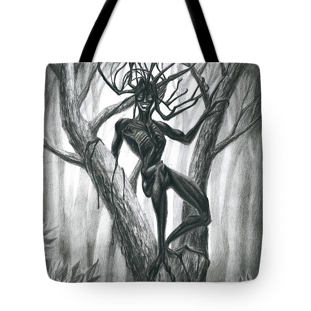 Symbolic Tote Bag featuring the drawing Tar Girl In A Tree by Alisa Bogodarova