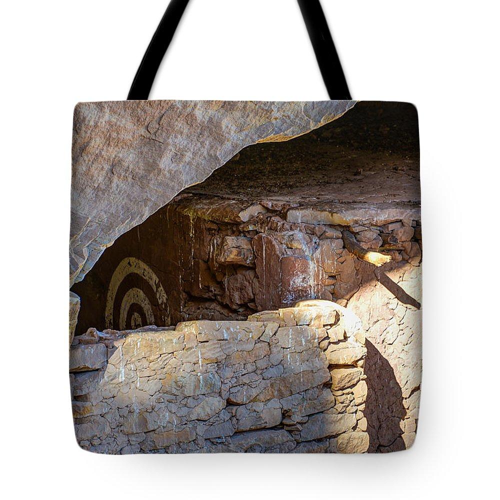 Target Tote Bag featuring the photograph Target Bullseye Anasazi Ruin by Gary Whitton