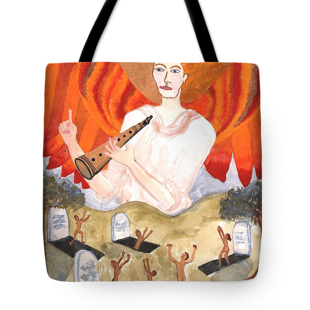 Tarot Tote Bag featuring the painting Tarot 20 Judgement by Sushila Burgess