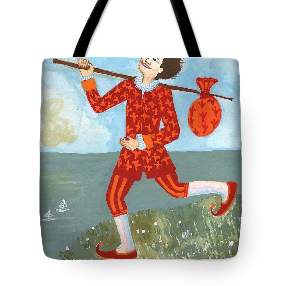 Tarot Tote Bag featuring the painting Tarot The Fool by Sushila Burgess