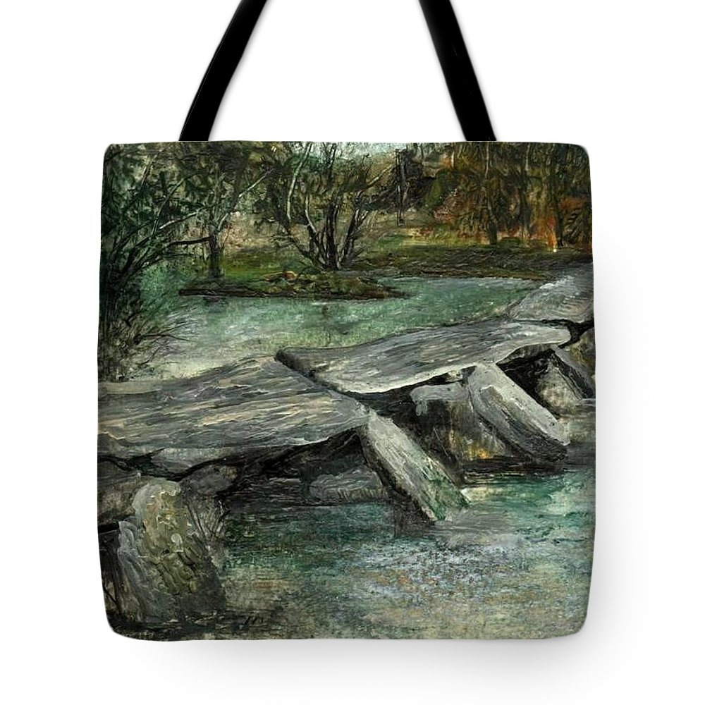 River Tote Bag featuring the painting Tarr Steps by Carol Rowland