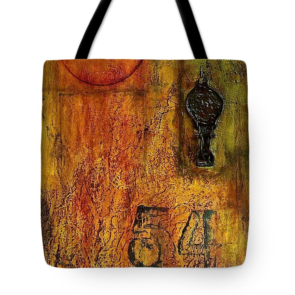 Mixed Media Tote Bag featuring the painting Tattered Wall by Bellesouth Studio