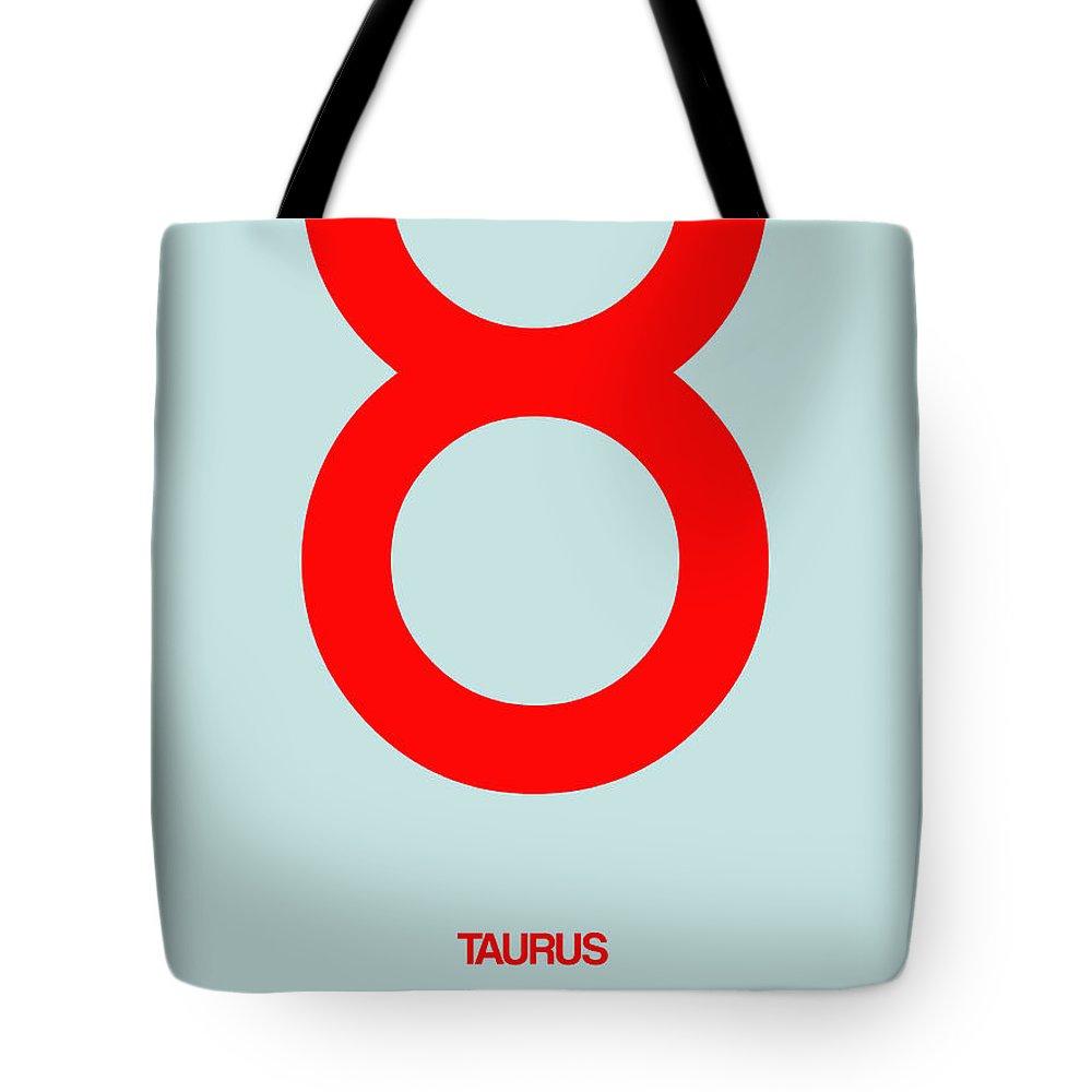 Taurus Tote Bag featuring the digital art Taurus Zodiac Sign Red by Naxart Studio