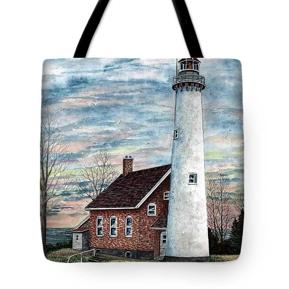 Tawas Point Light Tote Bag featuring the painting Tawas Point Light by Steven Schultz