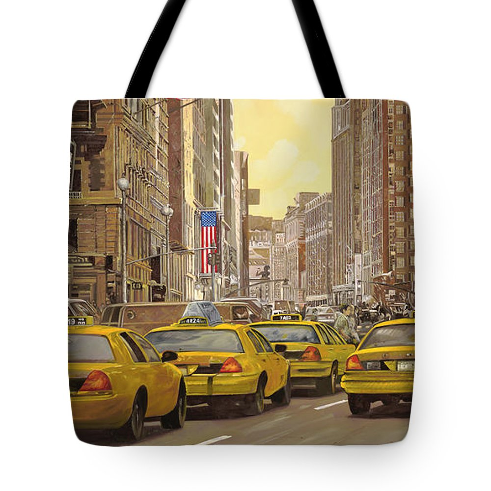 New York Tote Bag featuring the painting taxi a New York by Guido Borelli