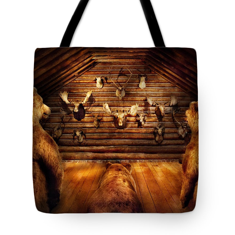 Hdr Tote Bag featuring the photograph Taxidermy - Home Of The Three Bears by Mike Savad