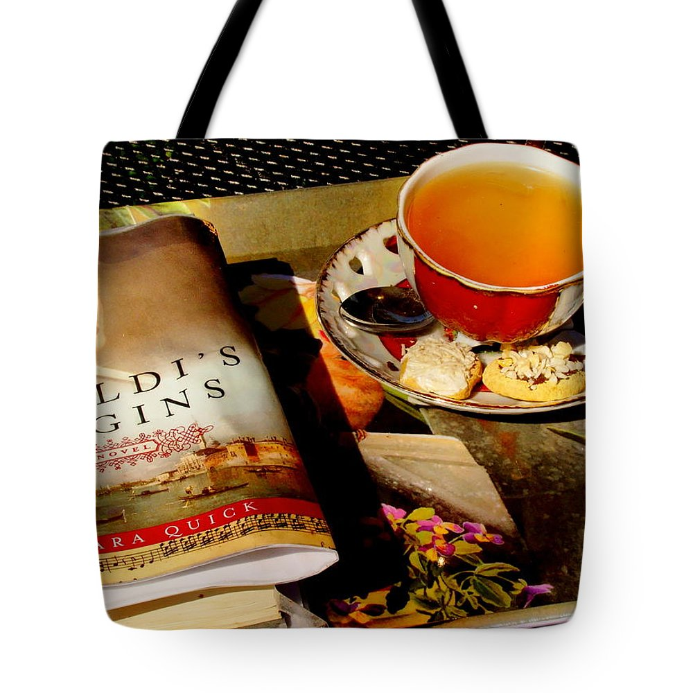 Fine Art Tote Bag featuring the photograph Tea And A Read by Rodney Lee Williams