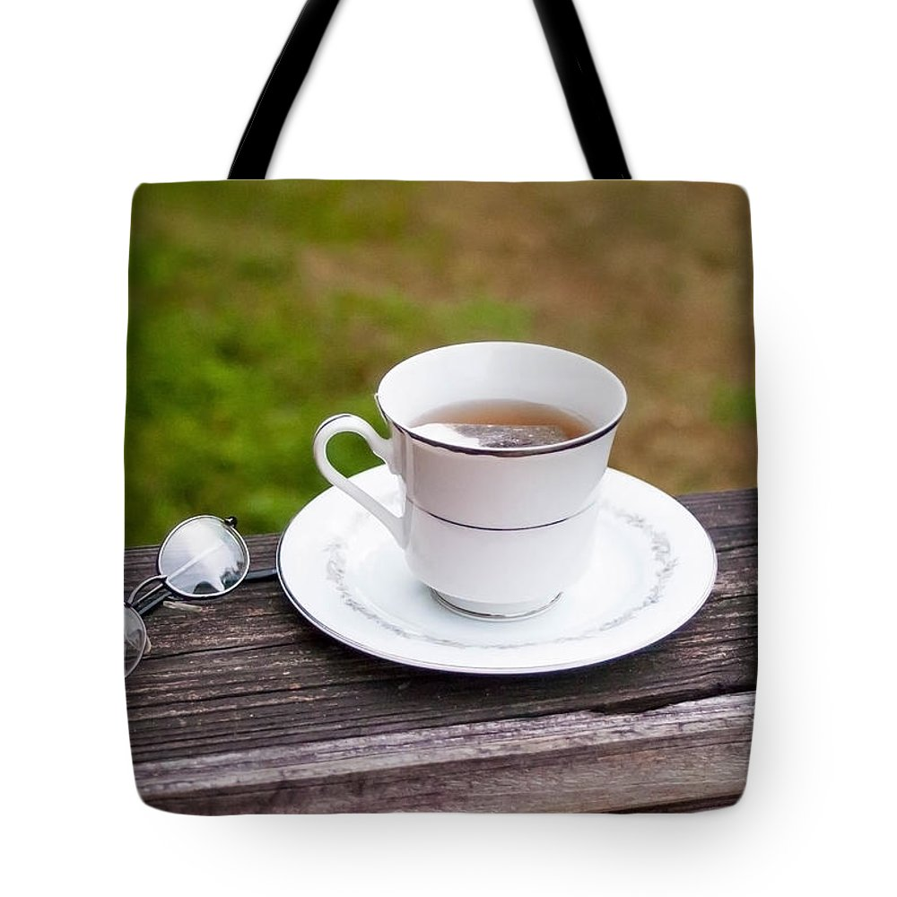 Tea Time Tote Bag featuring the photograph Tea And Art by Mechala Matthews