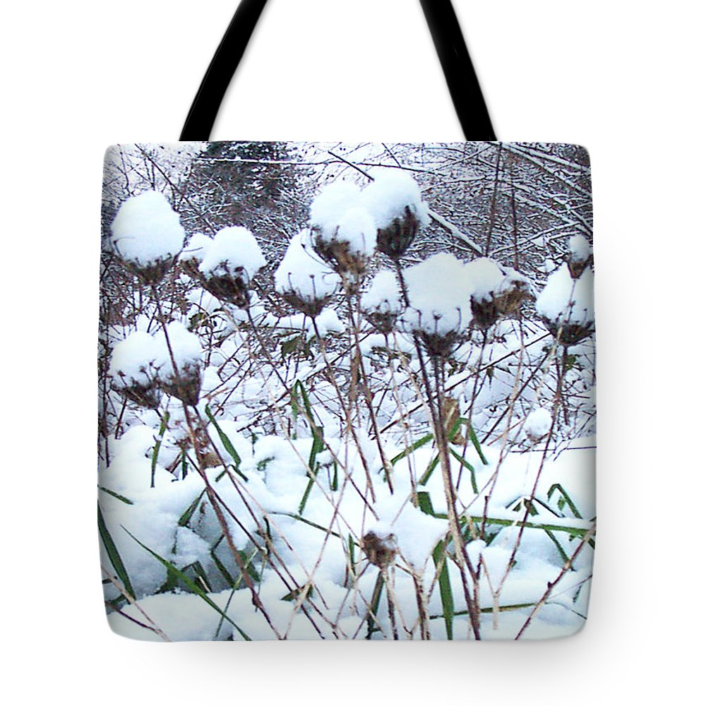 Winter Flowers Filled With Snow Tote Bag featuring the photograph Tea Cups Of Snow by Blythe Ayne