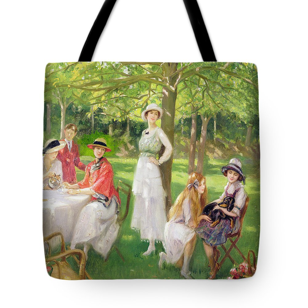 Ordinaire Garden Tote Bag Featuring The Painting Tea In The Garden By Jules Cayron