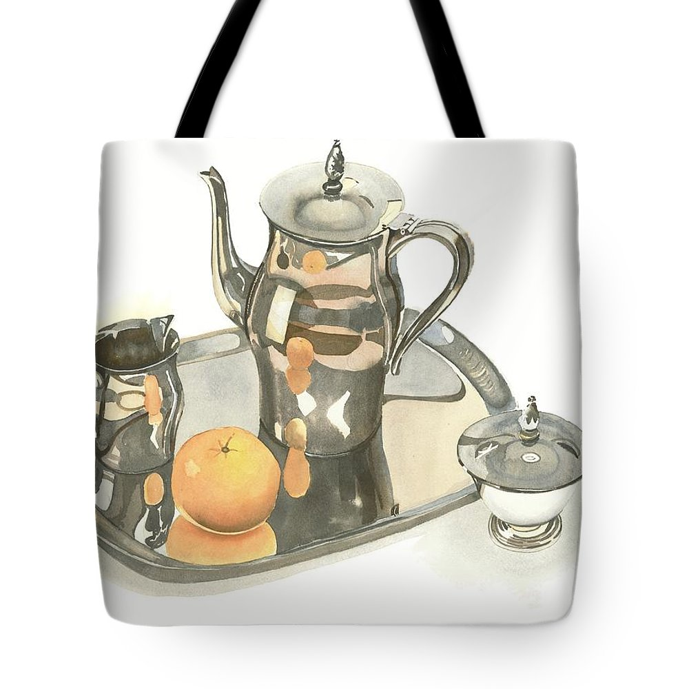 Tea Service With Orange Tote Bag featuring the painting Tea Service With Orange by Kip DeVore