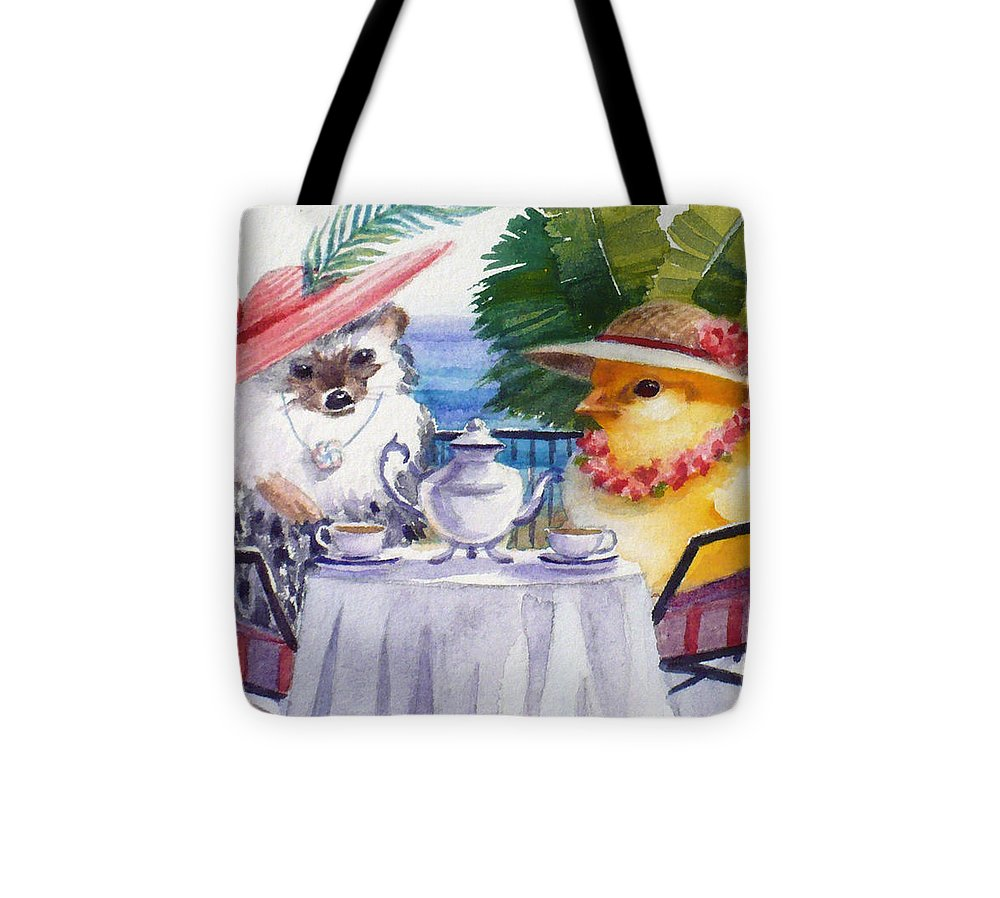 Hedgehog Tote Bag featuring the painting Tea Time For A Baby Chick And Hedgehog by Janet Zeh