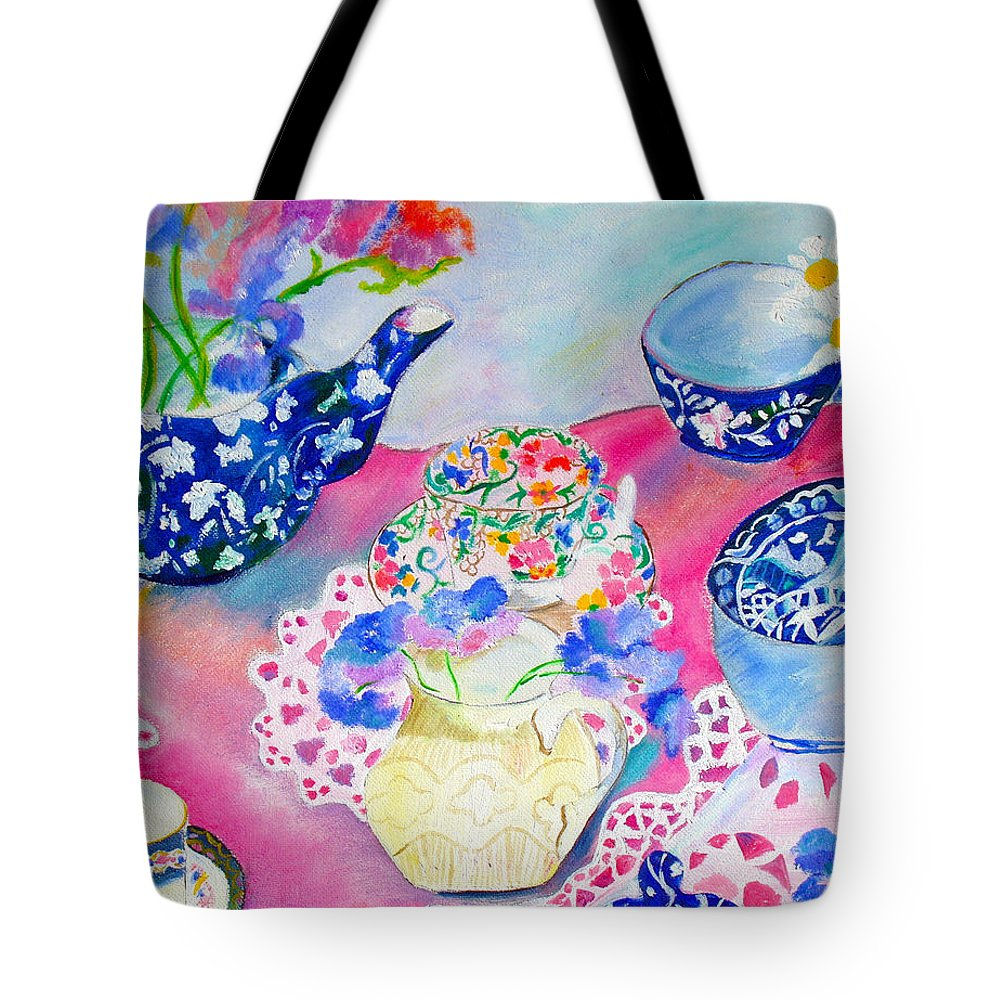 Flowers Tote Bag featuring the painting Teacups by Harlene Bernstein
