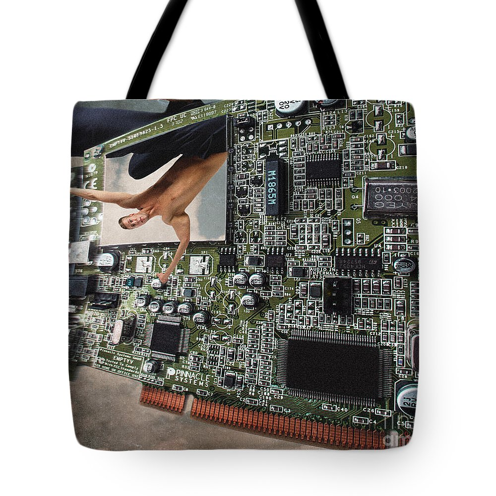 Computers Tote Bag featuring the photograph Circuit Board Electronic Art Technobat Abstract by Ginette Callaway
