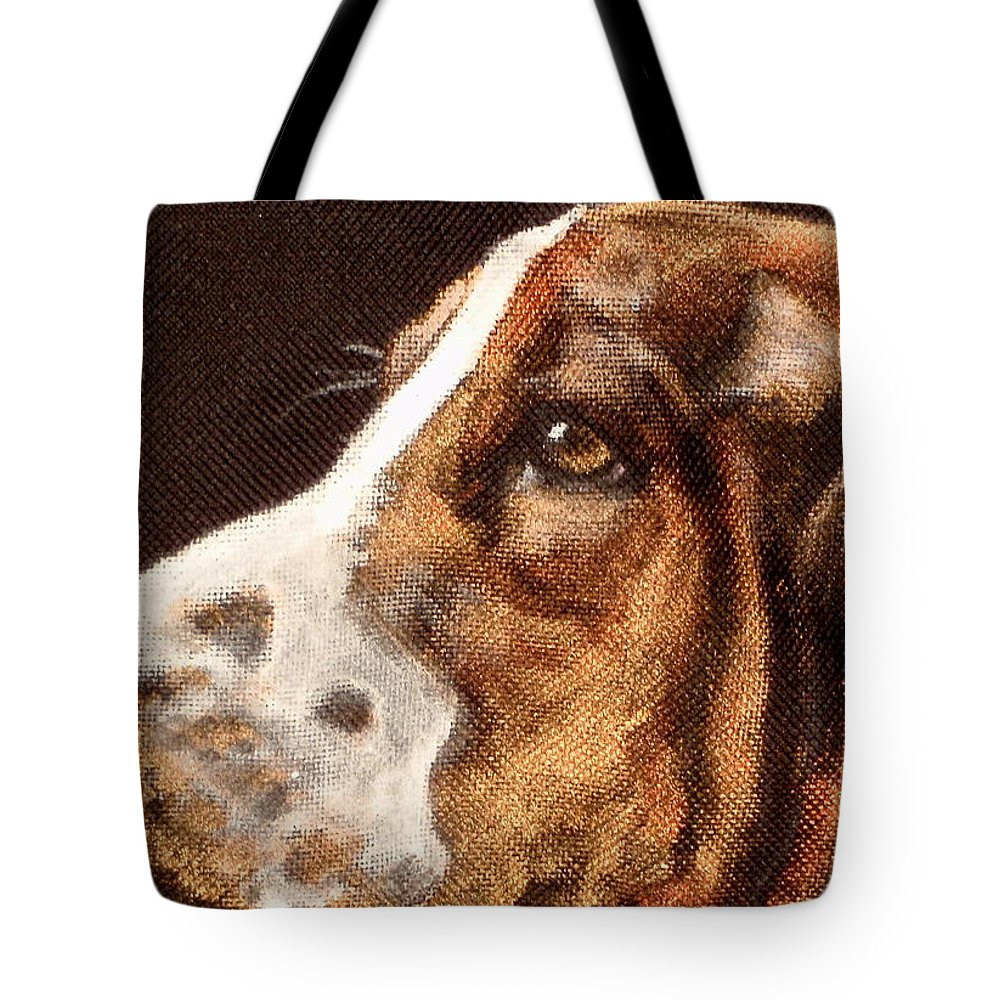 Close Up Of Basset Hound Tote Bag featuring the painting Ted by Carol Russell