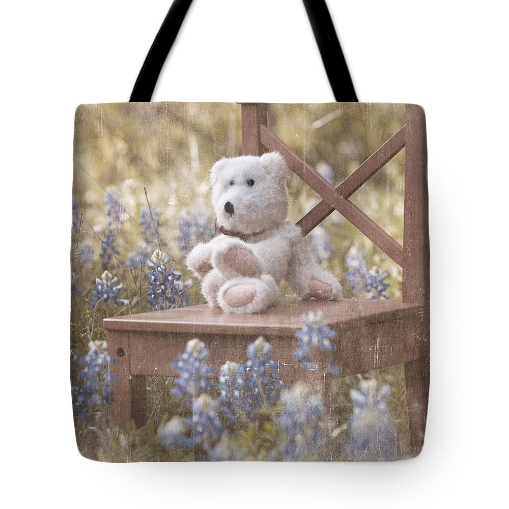 Teddy Bear Tote Bag featuring the photograph Teddy Bear And Texas Bluebonnets by Renee Hong