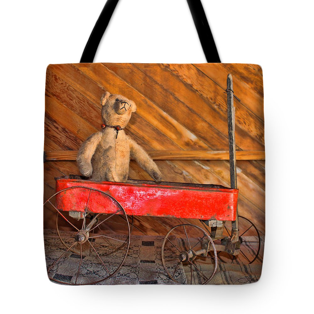 Antiques Tote Bag featuring the photograph Teddy Takes A Ride by Sylvia Thornton