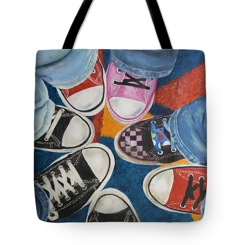 Acrylic Painting Tote Bag featuring the painting Teens In Converse Tennies  by Lynda Coon f7e572e097e94