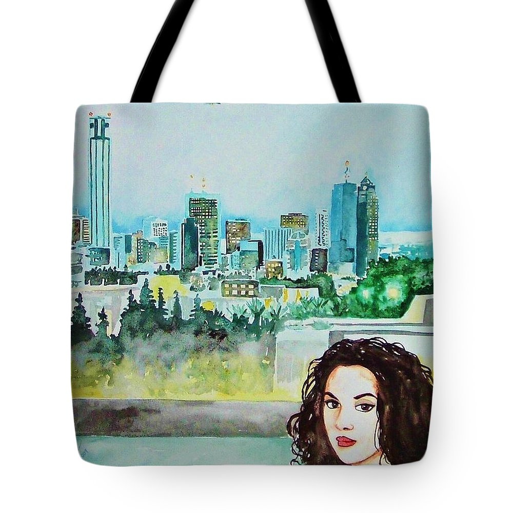 Tel Aviv Israel Woman Skyline Cityscape Travel Tote Bag featuring the painting Tel Aviv 2009 by Ken Higgins