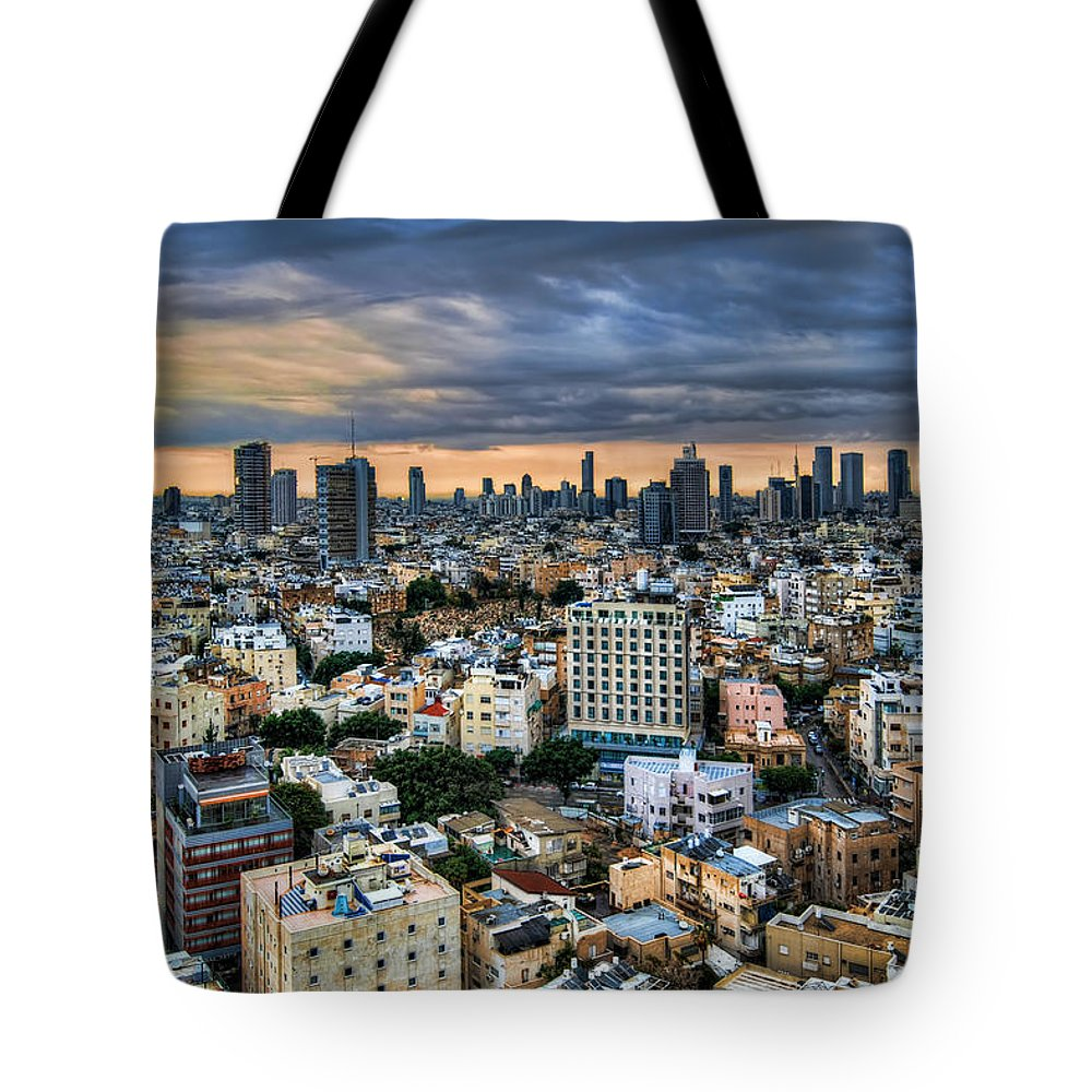 Ronsho Tote Bag featuring the photograph Tel Aviv Skyline Winter Time by Ron Shoshani