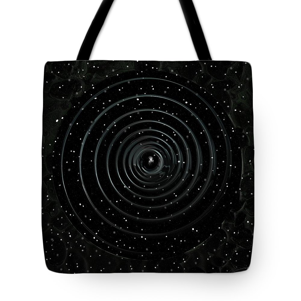 Teleort Tote Bag featuring the digital art Teleport Through Green Space by Michael Hurwitz